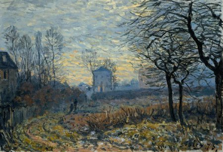Photograph of a painting by the French Impressionist, Alfred Sisley.
