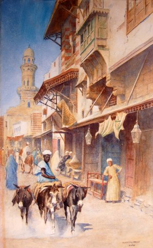 Photograph of a Cairo watercolour by the Irish artist, Aloysius O'Kelly