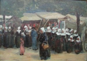 Photograph of a Breton painting by the Irish artist, Aloysius O'Kelly