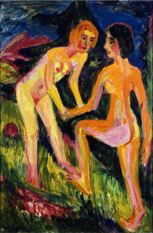 Photograph of a painting by the German Expressionist,Ernst Ludwig Kirchner.