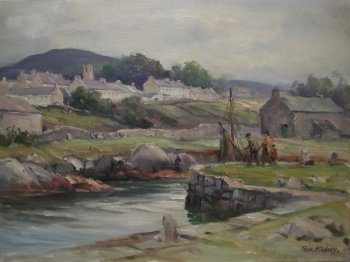 Photograph of a painting by the Irish artist, Frank McKelvey.