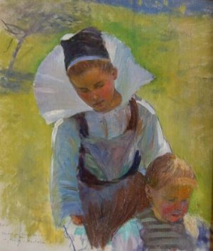Photograph of a Breton painting by the American artist, Frank Crawford Penfold.