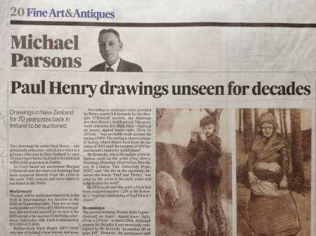 Photograph of an article from the Irish Times 5th Sept 2015