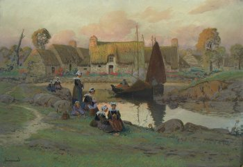 Photograph of a Breton painting by The French artist, Mathurin Jansssaud.