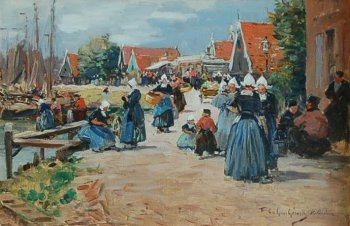 Photograph of a Volendam painting by the French artist, Fernand Le Gout-Gerard.