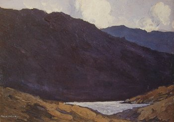 Blue Mountains, photograph of a painting by Paul Henry.