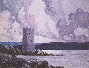 Photograph of a painting by the Irish artist, Paul Henry.