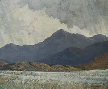 Photograph of a Connemara painting by the Irish artist, Paul Henry.