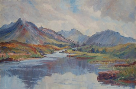 Photograph of a Connemara painting by the Irish artist, Stanley Pettigrew.