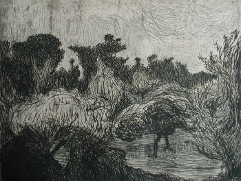 Photograph of an etching by the Irish artist, Roderic O'Conor